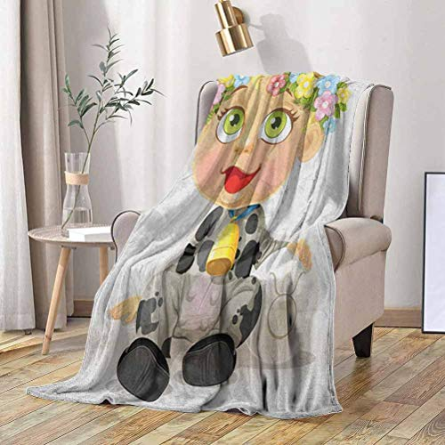 RenteriaDecor Zodiac Taurus Toddler Blanket Happy Baby with Little Horns and Flowers Cow Bell and Costume Kids Cartoon 66x90 Inch All Season Blanket,Soft Blanket,Light Weight Blanket