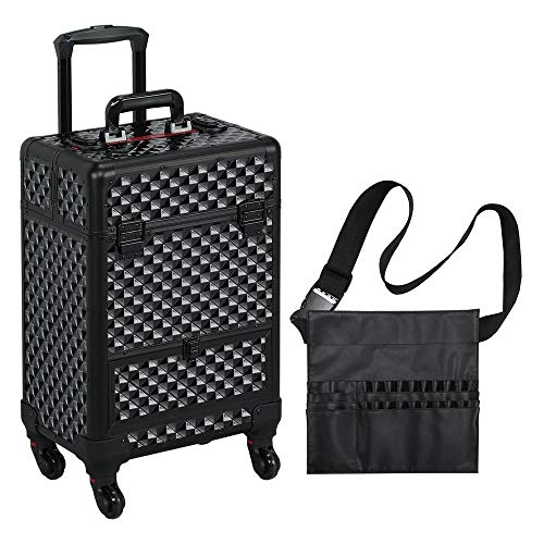 Yaheetech Makeup Case - Large Storage Professional Rolling Cosmetic Trolley with Sliding Drawer Travel Train Case Vanity Box Full Black