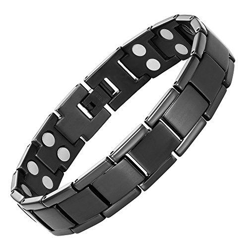 Willis Judd extra starker Magnetschmuck Herrenarmband Titan schwarze hochwirksame 3000-Gauss-Magneten 22cm justierbar 1,2cm breit magnetisches Therapiearmband Gesundheitsarmband für Arthritis Gelenkschmerzen Geschenkidee Männer