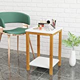 BAMEOS Side Table Modern Industrial End Table, 2-Tier Side Table with Storage Shelf, Accent Coffee Table for Living Room Bedroom Balcony Family and Office in White Color(13.4x13.4x19.7inch