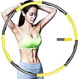 Tyuodna Hula Hoop Fitness, Hula Hoops Plegable Fitness Wave Pesado 3.3 lbs, 8 Secciones Desmontable Espuma Acolchado Ejercicio Hula Anillo Ajustable Ancho para Adultos y Niños (Amarillo)