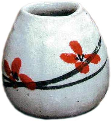 ヤマ庄陶器 花器 ホワイトなど 8×6.5×9cm 信楽焼 土ごよみ 華絵花入