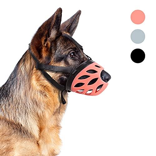 Supet Bozal para perro de silicona, transpirable, con correas ajustables de nailon, para perros pequeños, medianos y grandes, evita que ladren y mastiquen