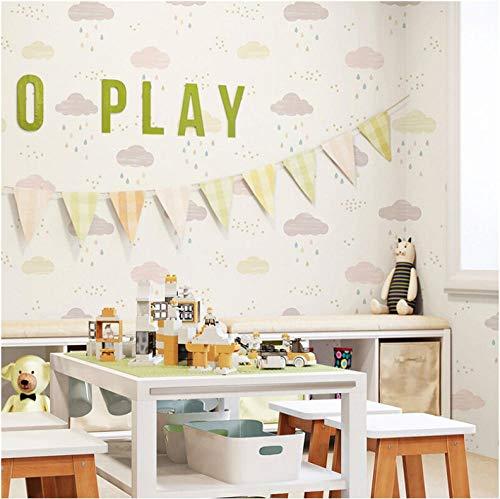 Tapete Kinderzimmer Schlafzimmer Tapete Junge Prinzessin Zimmer Cartoon Schöne Rosa Blau Vliesblau Himmel Weiß Wolke Regen Tapete Roll-2