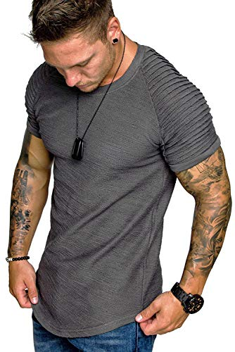 COOFANDY Mens Bodybuilding Muscle Shirt Gym Workout Short Sleeves Fashion T-Shirt Grey M
