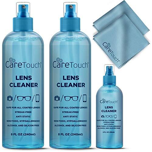 Care Touch Alcohol Free Glasses Lens Cleaner Kit | 2 8oz Spray Bottles + 2oz Travel Spray...