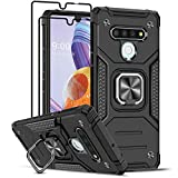 LeYi Compatible for LG Stylo 6 Case with [2 Pack] Tempered Glass Screen Protector, [Military-Grade] Armor Protective Phone Case with Magnetic Ring Kickstand for LG Stylo 6, Black