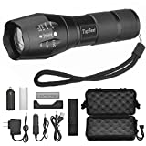 TopBest LED Tactical Flashlight, Portable Ultra Flashlight Adjustable Focus and 5 Light Modes,1200 Lumen Outdoor Water Resistant Handheld Torch and Rechargeable 18650 Lithium Ion Battery and Charger