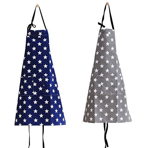2 Stücke verstellbare Schürze Grillschürze Damen und Kochschürze mit 2 Taschen,Küche Backen Latz Stern Schürze für Frauen , Restaurant, Hausarbeit