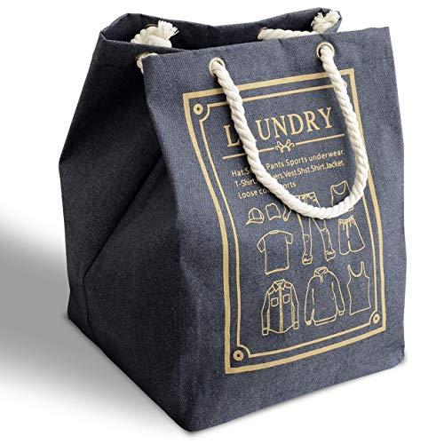 MgDa(メダ)洗濯かご ランドリーバスケット 取って付き 撥水 大容量 折り畳み式 綿麻生地 収納ボックス 軽量 省スペース (61L ブルー)