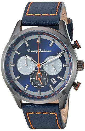Tommy Bahama Men's Stainless Steel Japanese Quartz Leather Calfskin Strap, Blue, 22 Casual Watch (Model: 215182BLU405)