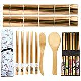 14 pcs Juego de Sushi, Sushi Kit de Bambú Completo, Bamboo Sushi Maker Set, Bambú para Hacer Sushi Kit para Principiantes y Amantes del Sushi, Kit para Hacer Sushi de Bambú en Casa