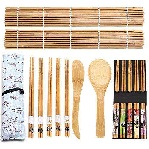 14 pcs Juego de Sushi, Sushi Kit de Bambú Completo, Bamboo Sushi...