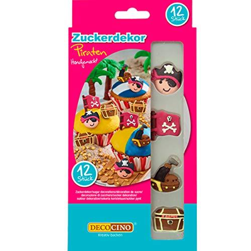 DECOCINO Cake Decor, Piraten Zucker-Dekor – 12 Stück – essbares Dekor, zum Verzieren von Cupcakes, Kuchen & Torten – ohne Palmöl, glutenfrei & halal