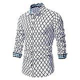 XUEbing Camisas de vestir impresas para hombre, manga larga, casual, ajustadas, costuras a cuadros, solapa ligera, blusa para fiesta diaria, blanco, XXL