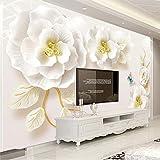 WPFZH 3D Mural Flores en Relieve Mural Papel tapiz Sala de Estar Hotel Moderno Fondo Simple Papel de pared Decoración para el hogar Murales-150x200cm