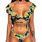 Yutdeng Conjunto De Bikini Mujer Sexy Traje de Baño Push Up con Relleno Brasileños Traje de Floral Impresión 2 Piezas Ropa de Playa 2021 Verano