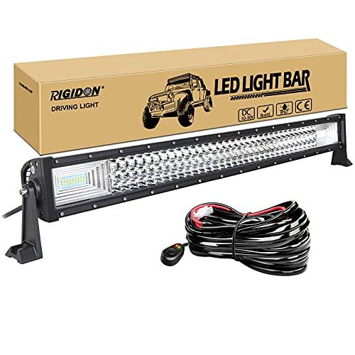 RIGIDON Barra de luz led, 12V 24V 32 pulgadas 405W, 7D Tri fila Barras luminosas led y kit de cableado para off road camión coche ATV SUV 4x4 barco, Foco Inundación Combo, lámpara de conducció