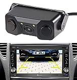 Lescars Rückwärtskamera: Farb-Rückfahrkamera & Einparkhilfe m. Abstandswarner, LED-Ausleuchtung (Parksensoren)