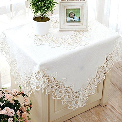 TaiXiuHome Blanco Estilo Europeo Minimalista Floral Bordado Encaje Mantel Hollow Top Square Decoración aprox 130x130cm