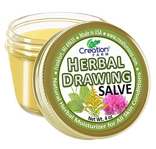 CREATION FARM DRAWING SALVE 4 OZ - Herbal Salve Jar - skin irritations,...