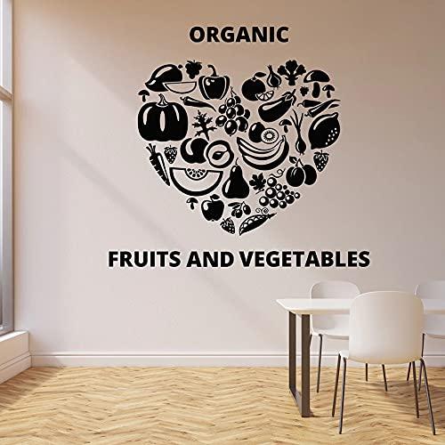 Usmnxo Etiqueta de la Pared del corazón Fruta Vegetal Comida Comedor Comida Sana Vinilo Etiqueta de la Ventana Cocina Restaurante Decoración Mural 74x80cm