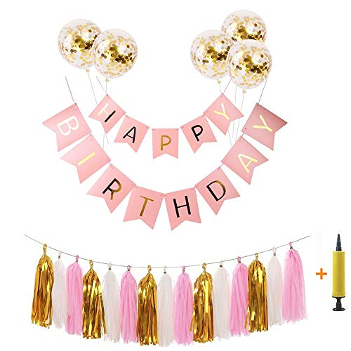Pink Happy Birthday Banner Set Birthday Bunting, 5 Gold Sequin Confetti Latex Balloons, Gold white pink Tassel Trim For Birthday Party Decorations