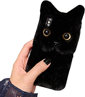 SGVAHY iPhone X/XS Case, Fluffy Cute 3D Animal Cat Shaped for Girls Women Soft TPU Case Shockproof Drop Resistant Phone Cover Protective iPhone X/XS (Black, iPhone X/XS)