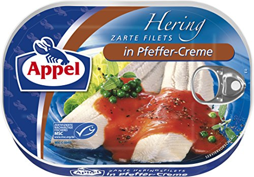 Appel Heringsfilets in Pfeffer-Creme, 10er Pack Konserven, Fisch in Pfeffercreme