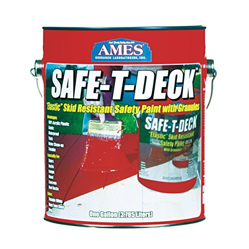 Ames Safe-T-Deck Skid Resistant Safety Paint Water Based Semi Gloss Tintable White Base 1 Gl