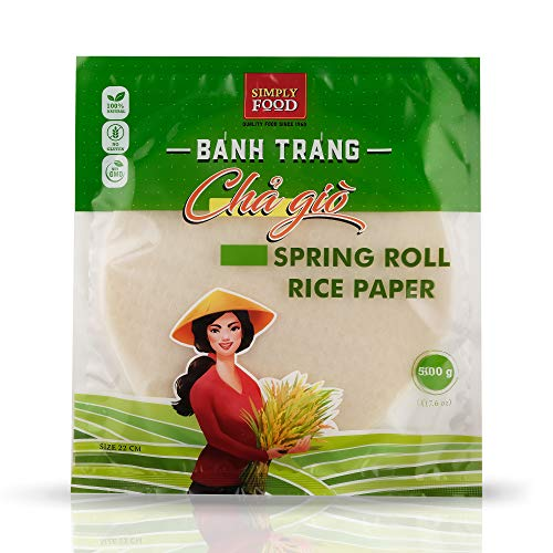 Premium Fry Spring Roll Rice Paper Wrappers (Round) -22 cm- by SIMPLY FOOD (Banh Trang Cha Gio) - USED FOR FRYING - Easy to Use, Gluten-Free, Non-GMO, 100% Natural