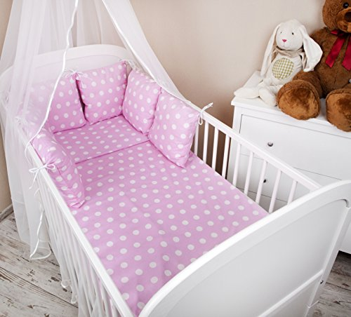 Baby-Set di biancheria da letto con copripiumino e federa cuscino per lettino, con paracolpi, motivo a pois, colore: rosa, 100 x 135 cm