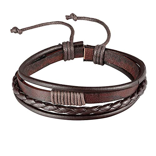 KnBob Leder Armband für Damen Braun Geflochten Breite 18MM Länge 20.3CM Manschette Armband