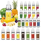 Food Flavoring Oil, 24 Liquid Lip Gloss Flavoring Oil - Concentrated Candy Flavors for lip Balm, Baking, Cooking, Soap and Slime Making - Water & Oil Soluble - .2 Fl Oz (6 ml) Bottles