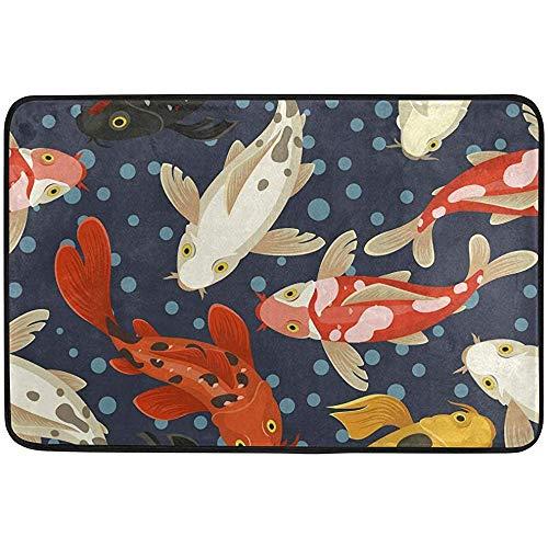 ASDAH badmat voor badmat van memory-schuim, antislip, van vis en bol van Japan Koi voor buiten