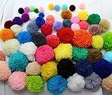 LLDS 100Pcs Hilados Sueltos Pompones 15Mm-60Mm Cuentas, Bolas, Pompones De Flores, Bolas Mullidas De Colores Mezclados Diseñador De Joyería Sandalia DIY, Color De Mezcla35 A 40M