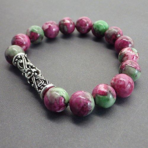 Le bracelet en Jade vert et rouge
