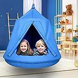 amzdeal Poltrona sospesa per bambini con cuscino gonfiabile, altalena a nido d'ape, amaca per bambini, amaca sospesa, per esterni e interni, impermeabile, portata fino a 100 kg (blu)