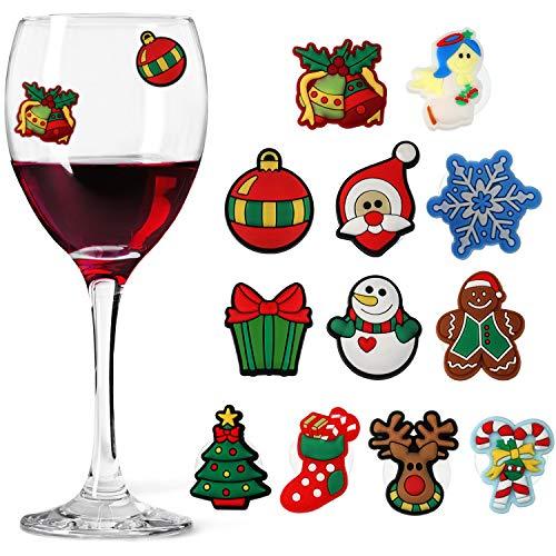 12 Stück Weihnachten Weinglas Charms Magnetische Weinglas Charms für Weihnachten Urlaub Party Bedarf, 12 Stile