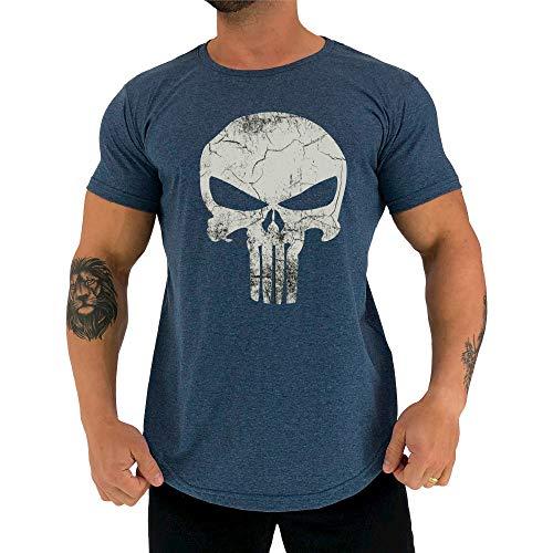 Camiseta Masculina LongLine MXD Conceito Slim Justiceiro The Punisher (Azul Mesclado, G)