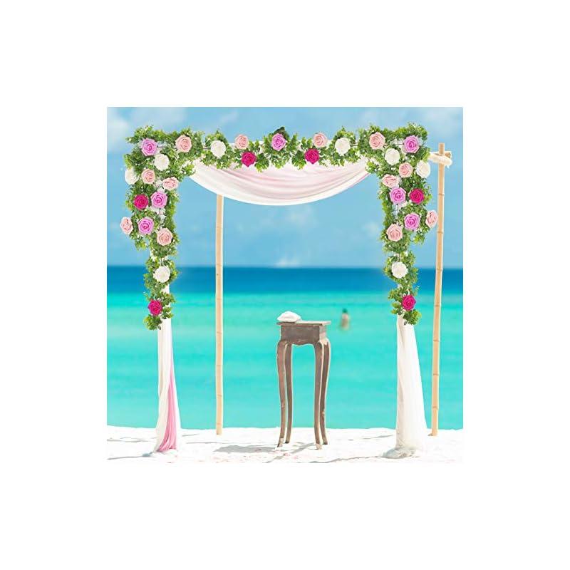 silk flower arrangements n/k rose flower eucalyptus garland, artificial flower plants hanging rose dusty eucalyptus garland for wedding party garden home craft art decoration 6.4 ft(blue #1) (pink #1)