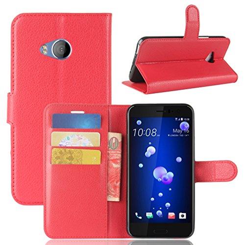 LMAZWUFULM Hülle für HTC U11 Life PU Leder Magnetverschluss Brieftasche Lederhülle Litschi Muster Standfunktion Ledertasche Flip Cover für HTC U11 Life Rot