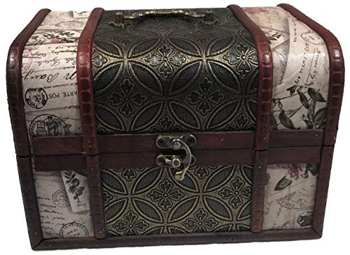 Le Petit Mitron Coffret Antique Lettres - Lot de 3 boites de Rangement Style Vintage - Coffrets en Bois - idéal rangements Divers : Bijoux, cosmétiques.