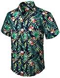 HISDERN Uomo Funky Hawaiana Cocco Camicie Manica Corta Tasca Frontale Vacanze estive Aloha Stampato Spiaggia Casual Blu Navy Verde Hawaii Camicia S