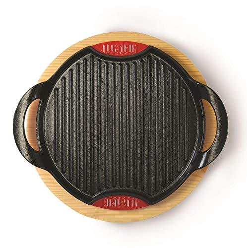 Bialetti 0LTGG028 Set de Grille Induction Fonte Émaillée et Support de Table en Bois/Aluminium 28 x 28 x 4 cm 2 Pièces