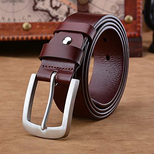 Riem voor heren Mannen Classic Leren Riem Zwart en bruin en rood Bruin Optioneel Soft Comfort Pin Buckle Belt Zakelijke kansen, woon-werkverkeer (Color : Red Brown, Size : 130 cm)