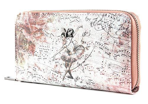 YNOT BAL-361F0 Wallet Zip Around, Ballerina Spartito, Portafogli Donna, Pink, 19x10.5x2.5 (W x H x L)