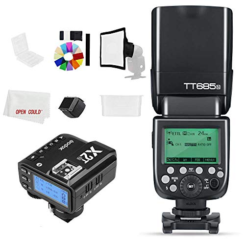 Godox Flash TT685N 2.4 GHz HSS 1/8000s GN60 Camera Flash Speedlite con X2T-N X2N 2,4 GHz X System Trigger per fotocamera Nikon (TT685N +X2T-N)
