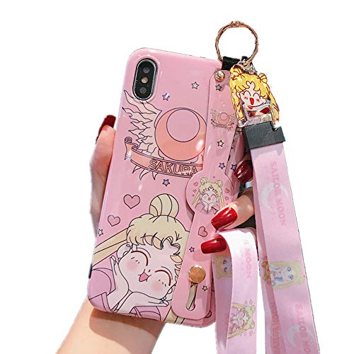 for iPhone 11 Case, for iPhone 11 Cover, Japan Anime Sailor Moon Case with Lanyard Strap Silicone Soft Phone Case Back Cover for iPhone 11 Pro Max Xs Max XR 6S 7 8 Plus (Cute, for iPhone 11)