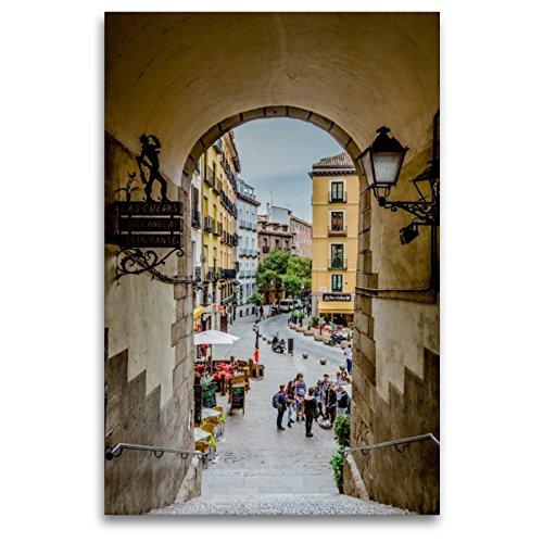 CALVENDO Lienzo Premium de 80 cm x 120 cm de Alto Arco de Cuchilleros Imagen de Pared sobre Bastidor, Listo en Lienzo auténtico, impresión en Lienzo: Madrid – España Orte Lugares